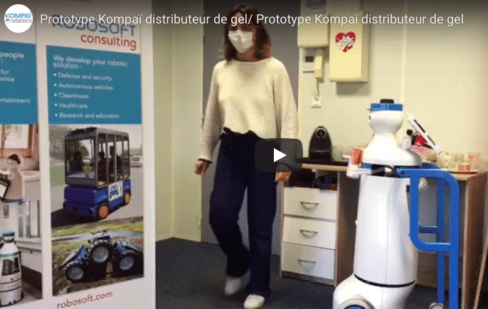 Kompaï  the robot in Shapes project : Hands disinfection